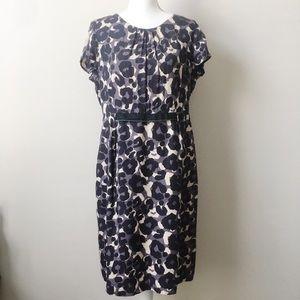 Boden Animal Print Dress With Velvet Waist Detail